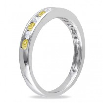 Channel Set Yellow & White Diamond Wedding Band 14k White Gold (0.44ct)
