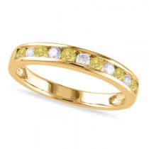 Channel Set Yellow & White Diamond Wedding Band 14k Yellow Gold (0.44ct)