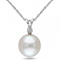 Solitaire South Sea Pearl Pendant Necklace w/ diamond 14k W. Gold 10mm