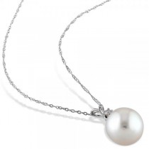 Solitaire South Sea Pearl Pendant Necklace w/ diamond 14k W. Gold 10mm|escape