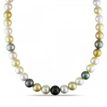 Multicolored Cultured Pearl Strand Necklace 14k White Gold 10-12.5mm