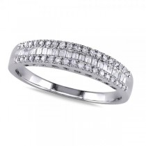3 Row Baguette & Round Diamond Wedding Band in 14K White Gold (0.25ct)