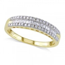 3 Row Baguette & Round Diamond Wedding Ring 14K Yellow Gold (0.25ct)