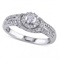 Halo Diamond Engagement Ring w/ Side Stones in 14k White Gold (0.50ct)