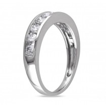 Semi Eternity Channel Set Diamond Wedding Band 14K White Gold (0.75ct)