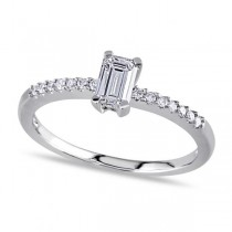 Emerald Cut Diamond Engagement Ring w/ Side Stones 14k W. Gold 0.50ct