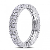 Double Row Eternity Diamond Wedding Band 14K White Gold (1.00ct)