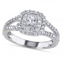 Double Halo Princess Cut Diamond Engagement Ring 14k White Gold 1.00ct
