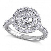 Round Diamond Double Halo Engagement Ring 14k W. Gold 1.00ct