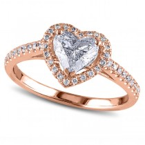 Heart Shaped Diamond Halo Engagement Ring in 14k Rose Gold (1.50ct)
