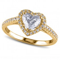 Heart Shaped Diamond Halo Engagement Ring in 14k Yellow Gold (1.50ct)