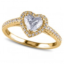Heart Shaped Diamond Halo Engagement Ring in 14k Yellow Gold (1.00ct)