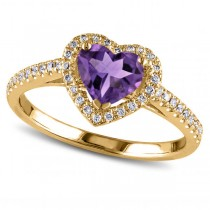 Heart Shaped Amethyst & Diamond Halo Engagement Ring 14k Yellow Gold 1.50ct