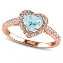 Heart Shaped Aquamarine & Diamond Halo Engagement Ring 14k Rose Gold 1.50ct
