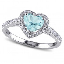 Heart Shaped Aquamarine & Diamond Halo Engagement Ring 14k White Gold 1.50ct