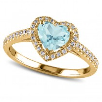 Heart Shaped Aquamarine & Diamond Halo Engagement Ring 14k Yellow Gold 1.50ct