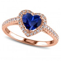 Heart Shaped Blue Sapphire & Diamond Halo Engagement Ring 14k Rose Gold 1.50ct