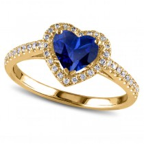 Heart Shaped Blue Sapphire & Diamond Halo Engagement Ring 14k Yellow Gold 1.50ct