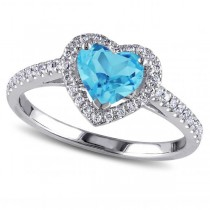 Heart Shaped Blue Topaz & Diamond Halo Engagement Ring 14k White Gold 1.50ct