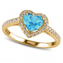 Heart Shaped Blue Topaz & Diamond Halo Engagement Ring 14k Yellow Gold 1.50ct