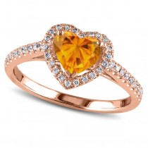 Heart Shaped Citrine & Diamond Halo Engagement Ring 14k Rose Gold 1.50ct