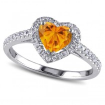 Heart Shaped Citrine & Diamond Halo Engagement Ring 14k White Gold 1.50ct