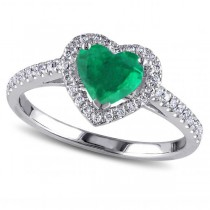 Heart Shaped Emerald & Diamond Halo Engagement Ring 14k White Gold 1.50ct