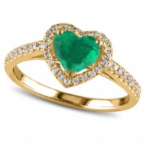 Heart Shaped Emerald & Diamond Halo Engagement Ring 14k Yellow Gold 1.50ct