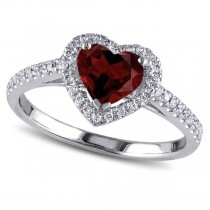 Heart Shaped Garnet & Diamond Halo Engagement Ring 14k White Gold 1.50ct
