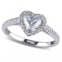 Heart Shaped Moissanite & Diamond Halo Engagement Ring in 14k White Gold (1.50ct)