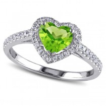 Heart Shaped Peridot & Diamond Halo Engagement Ring 14k White Gold 1.50ct