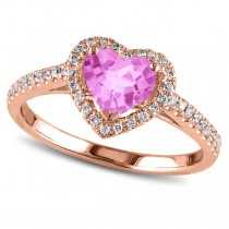 Heart Shaped Pink Sapphire & Diamond Halo Engagement Ring 14k Rose Gold 1.50ct