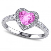 Heart Shaped Pink Sapphire & Diamond Halo Engagement Ring 14k White Gold 1.50ct