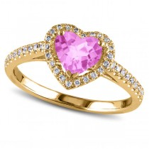 Heart Shaped Pink Sapphire & Diamond Halo Engagement Ring 14k Yellow Gold 1.50ct