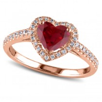 Heart Shaped Ruby & Diamond Halo Engagement Ring 14k Rose Gold 1.50ct