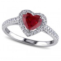 Heart Shaped Ruby & Diamond Halo Engagement Ring 14k White Gold 1.50ct