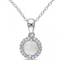 White Opal & Halo Diamond Pendant Necklace Sterling Silver (0.63ct)