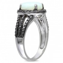 White Opal Black Diamond Halo Fashion Ring in Sterling Silver (1.76ct)