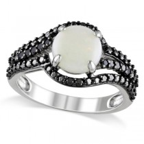 White Opal w/ Black Diamond Side Stones Ring Sterling Silver (1.35ct)