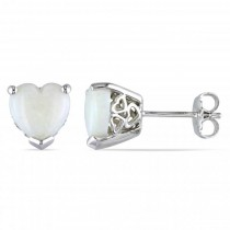 Heart Shaped White Opal Stud Earrings .925 Sterling Silver  (2.44ct)