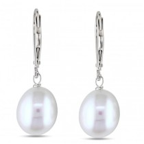 Freshwater White Pearl Drop Earrings w/ Leverbacks 14k W. Gold 8-9mm