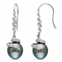 Black Tahitian Pearl & Diamond Swirl Drop Earring 14k W. Gold 9-9.5mm