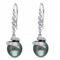 Black Tahitian Pearl & Diamond Swirl Drop Earring 14k W. Gold 9-9.5mm