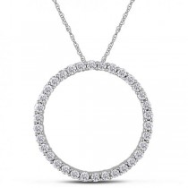 Diamond Circle of Life Pendant Necklace Women's 14k White Gold 1.00ct