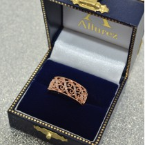 Ladies Pave Set Filigree Diamond Ring 14k Rose Gold 0.10ct