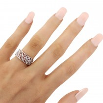 Ladies Pave Set Filigree Diamond Ring 14k White Gold 0.10ct