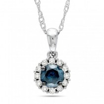 Blue & White Diamond Halo Pendant Necklace 14k White Gold 0.50ct
