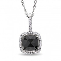 Black & White Diamond Square Halo Pendant Necklace 14k White Gold 1ct