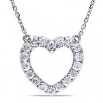 Open Heart Diamond Pendant Necklace for Women 14k White Gold 0.50ct