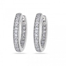 Vintage Inside Out Diamond Hoop Earrings Pave Set 14k White Gold 0.25ct